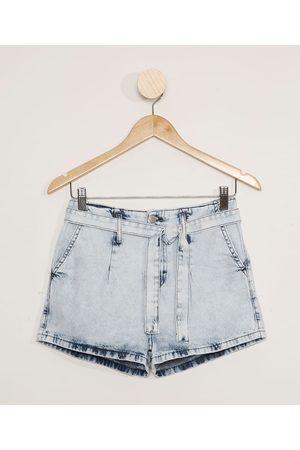 Miss Fifteen Short Jeans Juvenil com Faixa Claro