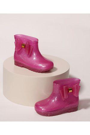 LUELUA Menina Galocha - Galocha Infantil Laço com Glitter Pink