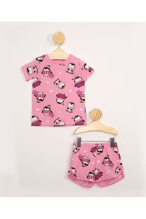 BABY CLUB Menina Pijamas - Pijama Infantil Manga Curta de Pinguins Rosa