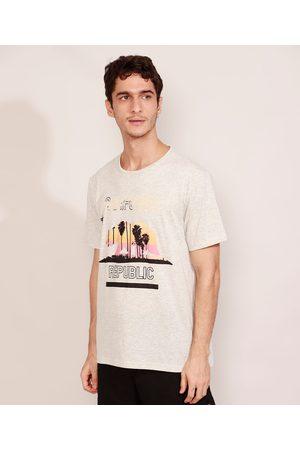 """Suncoast Homem Manga Curta - Camiseta Masculina Manga Curta Urso California Republic"""" Gola Careca Off White"""""""
