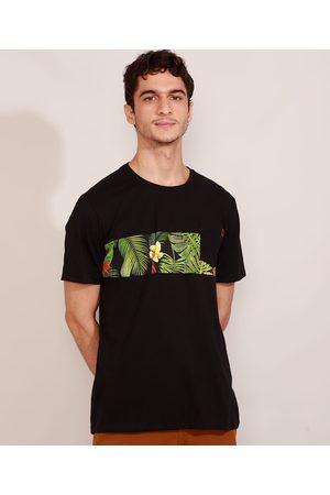 Suncoast Homem Manga Curta - Camiseta Masculina Manga Curta com Estampa de Folhagem e Bolso Gola Careca Preta