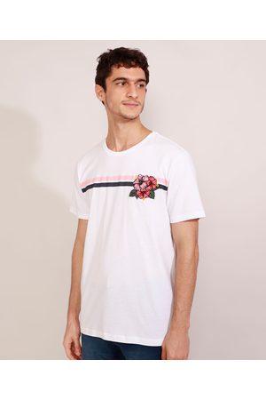 Clockhouse Homem Manga Curta - Camiseta Masculina Manga Curta com Bordado Floral e Listras Gola Careca Branca
