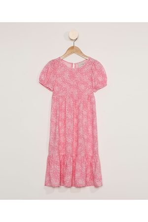 PALOMINO Menina Vestido Estampado - Vestido Infantil Longo Manga Curta Floral Rosa