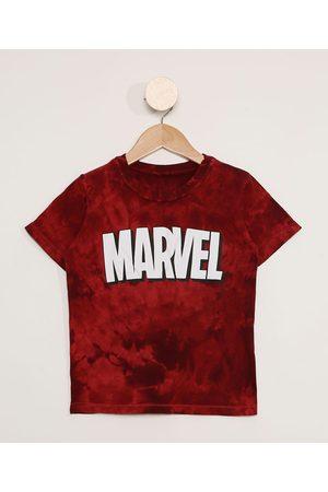 Marvel Menino Manga Curta - Camiseta Infantil Manga Curta Estampada Tie Dye Vermelha