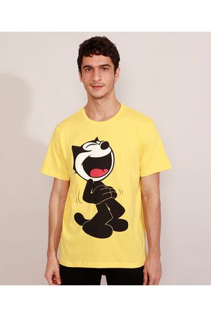 Universal Homem Manga Curta - Camiseta Masculina Manga Curta Gato Félix Gola Careca Amarela