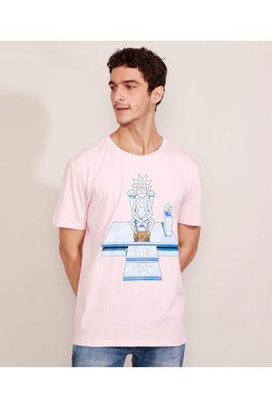 Warner Bros Homem Manga Curta - Camiseta Masculina Manga Curta Rick and Morty Gola Careca Claro