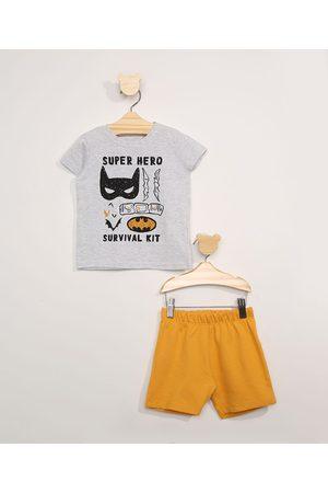 Warner Bros Menino Conjuntos - Conjunto Infantil de Camiseta Manga Curta Batman Cinza Mescla + Bermuda
