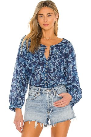 Free People Cool Meadow Printed Top in Blue. - size L (also in M, S, XS)