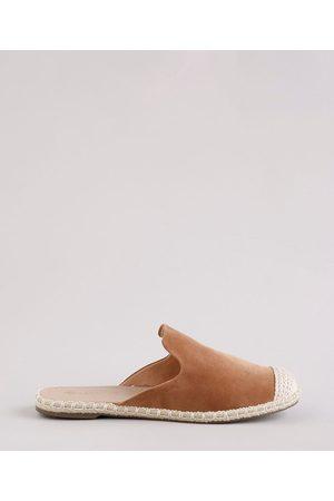 Via Uno Mulher Sapato Mule - Mule Feminino Bico Redondo em Suede com Crochê Caramelo