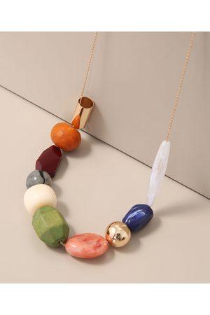 C&A Colar Feminino Longo com Pedras Variadas