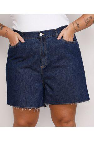 Mindse7 Mulher Short - Short Jeans Feminino Plus Size Mindset Los Angeles Cintura Alta Escuro