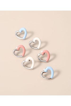 C&A Kit de 3 Brincos Femininos Coração com Resina