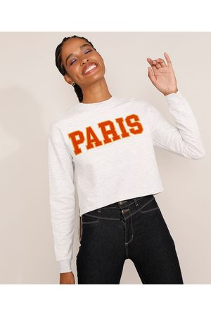 """Clockhouse Mulher Cropped - Blusa de Moletom Feminina Cropped Paris"""" Decote Redondo Mescla Claro"""""""