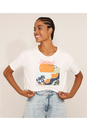 """Clockhouse Mulher Camiseta - Camiseta Feminina Manga Curta Cropped Oversized Sunset Paradise"""" Decote Redondo Off White"""""""