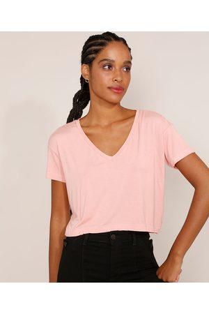Basics Mulher Camiseta - Camiseta Feminina Básica Cropped Manga Curta Decote V