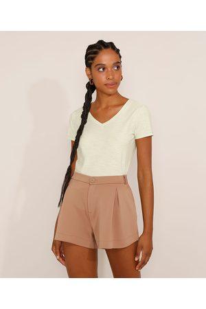 Basics Mulher Camiseta - Camiseta Feminina Básica Manga Curta Flamê Decote V Claro