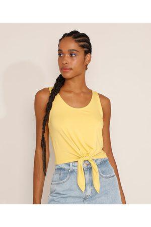 Basics Mulher Regata - Regata Feminina Básica Cropped com Nó Decote Redondo Amarela