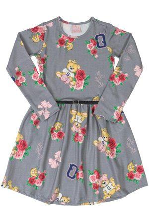 Quimby Vestido Infantil Manga Longa Flores Mescla