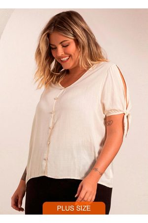 Secret Glam Camisa Plus Size Feminina de Botões