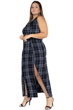 Marguerite Mulher Vestido Longo - Vestido Longo Xadrez com Fendas Plus Size
