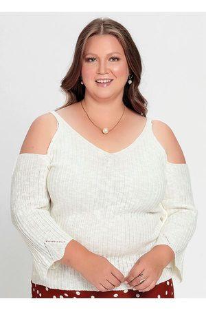 Mink Blusa Tricô Off White com Ombros Vazados