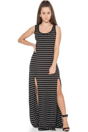 Up Close Mulher Vestido Estampado - Vestido Feminino Listrado com Fendas