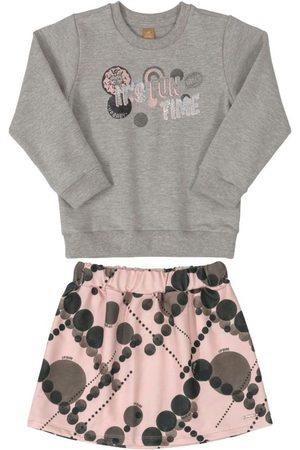 Up Baby Menina Saia Estampada - Conjunto Blusão Estampado e Saia