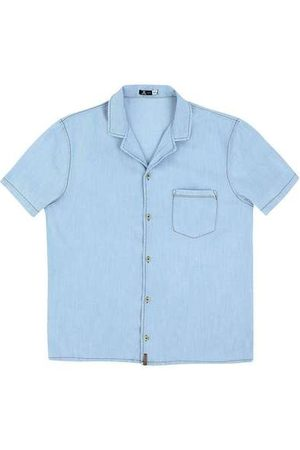 Hering Homem Camisa Jeans - Camisa Jeans Masculina Manga Curta com Bolso