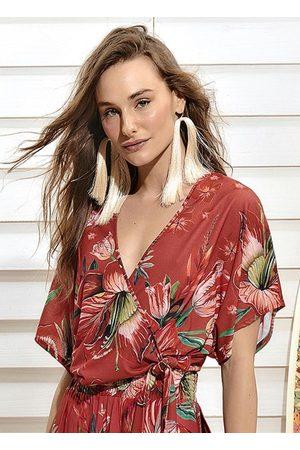 Colcci Blusa Transpassada Floral Vermelha
