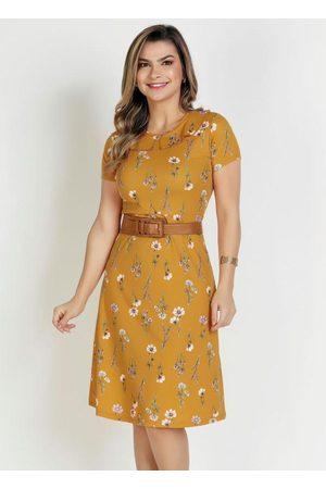 Rosalie Vestido Floral com Babado Moda Evangélica