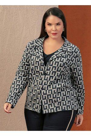Marguerite Blazer Geométrico com Botões Plus Size
