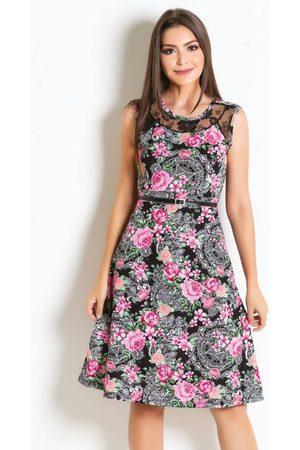 ROSALIE Vestido Floral com Renda Moda Evangélica