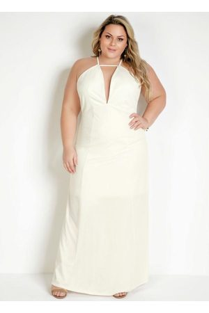 Marguerite Mulher Vestido Frente Única - Vestido Longo Off White Frente Única Plus Size