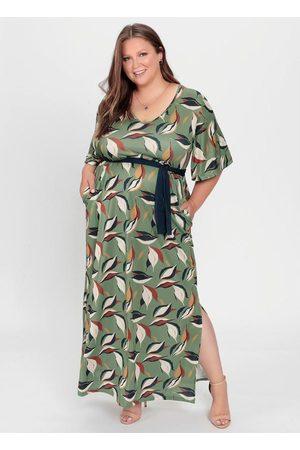 Mink Vestido Longo Folhas com Faixa Contrastante
