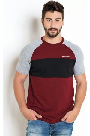 Nicoboco Homem Camisolas de Manga Curta - Camiseta Raglan Mescla/Preta/Vermelha