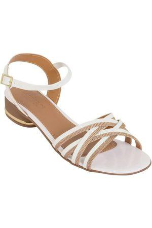 Perfecta Sandália Salto Baixo Branca com Brilho