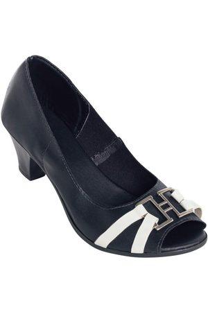 Perfecta Sapato Peep Toe Bicolor e Branco