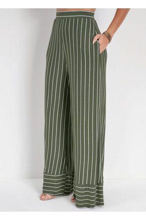 Miss Masy Calça Pantalona Listrada com Elástico