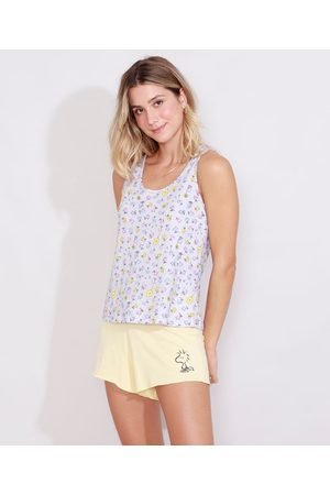 Snoopy Mulher Pijamas - Pijama Feminino Regata Estampado Woodstock Cinza Mescla