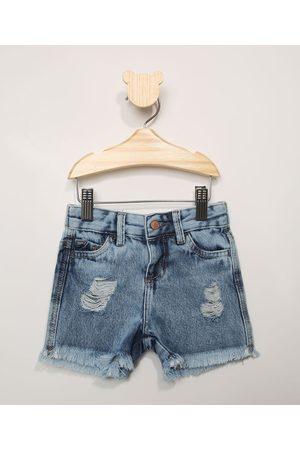 BABY CLUB Menina Saia Jeans - Short Jeans Infantil Destroyed com Barra Desfiada Médio