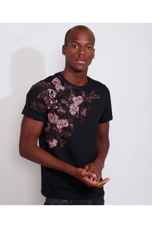 AL Contemporâneo Camiseta Masculina Slim Manga Curta Rosas Gola Careca Preta