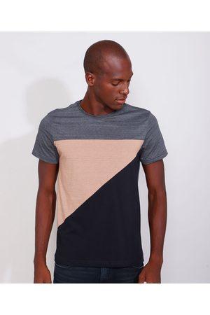 AL Contemporâneo Camiseta Masculina Slim Manga Curta com Recortes Gola Careca Mescla Escuro