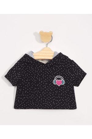 BABY CLUB Menina Manga Curta - Blusa Infantil Manga Curta Cropped Estampado de Poá com Capuz Preta