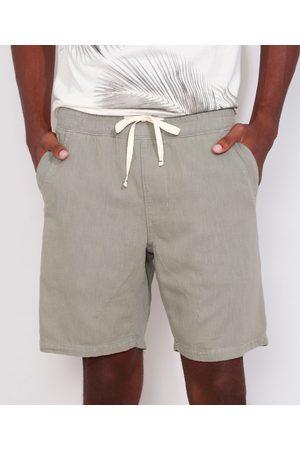 ANGELO LITRICO Homem Bermuda - Bermuda Masculina Reta com Cordão e Bolsos Militar