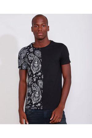 AL Contemporâneo Homem Manga Curta - Camiseta Masculina Slim Manga Curta com Estampa Paisley Gola Careca Preta