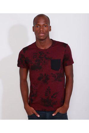AL Contemporâneo Camiseta Masculina Slim Estampada Manga Curta Floral com Bolso Gola Careca Vinho