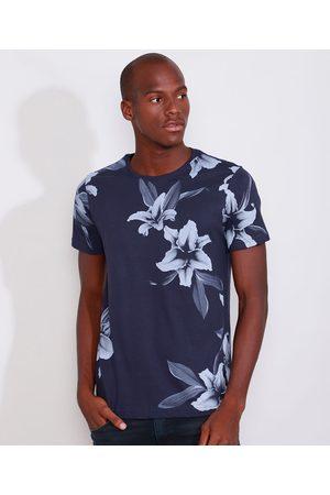 AL Contemporâneo Homem Manga Curta - Camiseta Masculina Slim Estampada Manga Curta Floral Gola Careca Azul Marinho