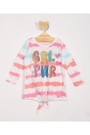 "BABY CLUB Blusa Infantil Manga Longa Estampada Tie Dye GRL PWR"" com Nó Pink"""