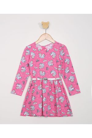 PALOMINO Menina Vestido Longo - Vestido Infantil Manga Longa Unicórnio com Cinto Rosa