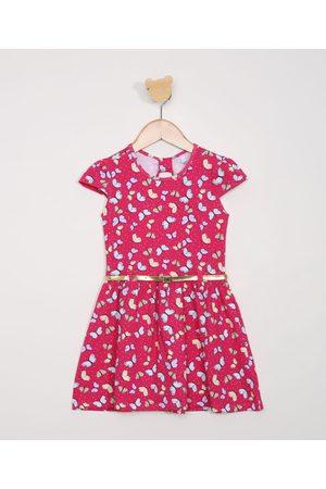 PALOMINO Menina Vestidos - Vestido Infantil Manga Curta de Borboletas com Cinto Pink